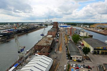 Rheinhafen Karlsruhe aus der Vogelperspektive