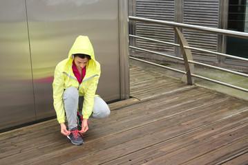 Urban fitness female runner lacing sport footwear