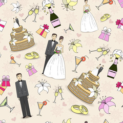 Vector pattern with symbols of wedding