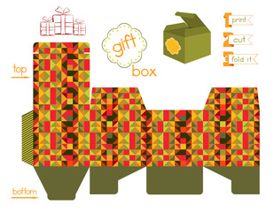 Printable Gift Box With Mosaic Pattern
