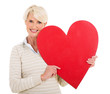 senior woman with heart shape