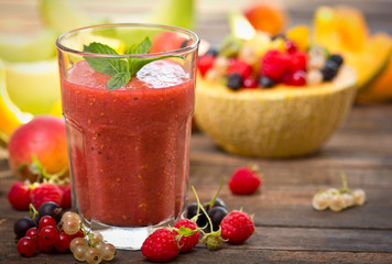 Fresh fruit smoothie in the glass