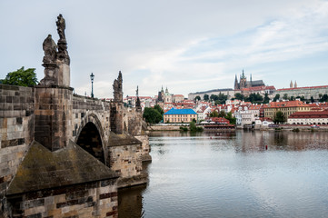 Panorama with Charles Bridge and Prague Castle