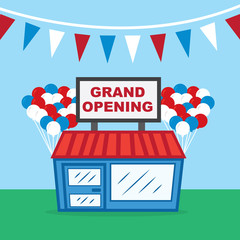 Store with grand opening sign and balloons