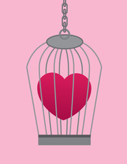 Heart symbol in a cage