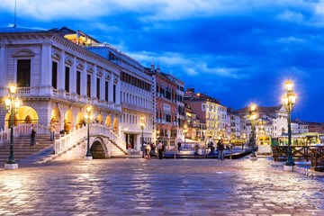 Night view of seafront of San Marco square in Venice, Italy