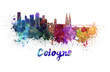 Leinwanddruck Bild - Cologne skyline in watercolor