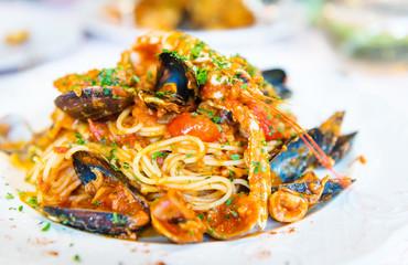 Italian pasta with seafood