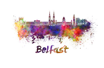 Belfast skyline in watercolor