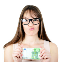 Beauitful woman holding some Euro currency note with funny look