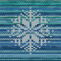 Knitted seamless pattern with snowflake