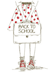 Back to school illustration with girl