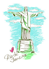 Illustration of Christ the redeemer in Rio de Janeiro