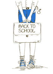 Back to school illustration with boy