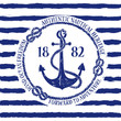 Nautical emblem with anchor - 66922096