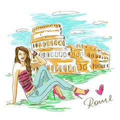 Fashion girl in Rome