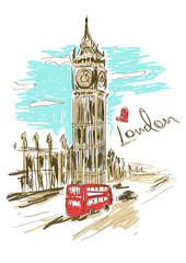 Sketch illustration of Big Ben tower