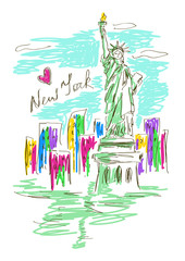Sketch illustration with Statue of Liberty