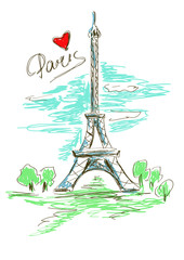 Sketch illustration of Eiffel Tower