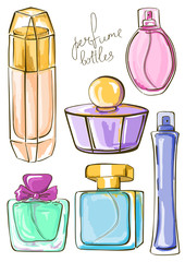 Set of isolated perfume bottles
