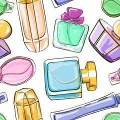 Seamless pattern of perfume bottles