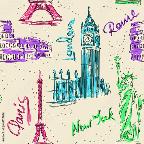 Seamless pattern of architectural landmarks - 66922024