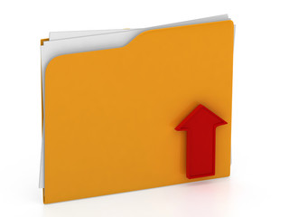 Folder with red arrow - upload concept - isolated on white backg