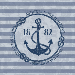 Nautical emblem with anchor