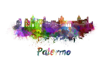 Palermo skyline in watercolor