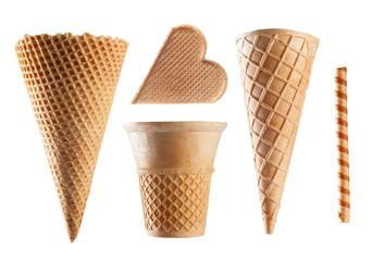 Ice cream waffles isolated on white background