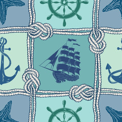 Nautical patchwork seamless pattern