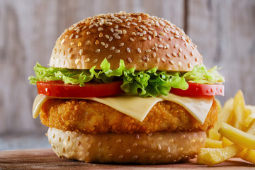hamburger with cutlet breaded