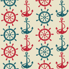 Seamless pattern of sea anchors and wheels