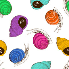 Seamless pattern of snails