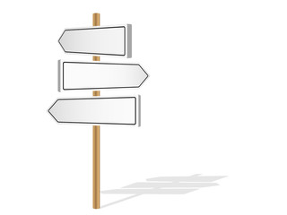 THREE BLANK SIGNPOSTS (template management road signs)
