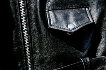 high contrast black leather jacket detail