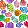 Seamless pattern of seashells