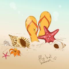 Illustration with seashells, starfish and flip flops