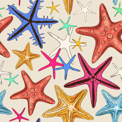Seamless pattern of starfish