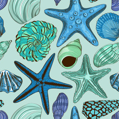 Seamless pattern of seashells and starfish