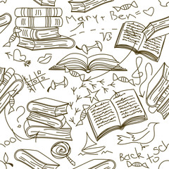 Seamless pattern of books and children's scribbles