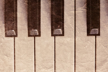 closeup of vintage piano keyboard