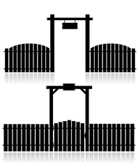 Black fence with gate isolated on white