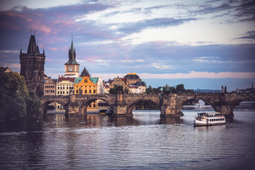 Charles Bridge over Vltava river in Prague, Czech Republic