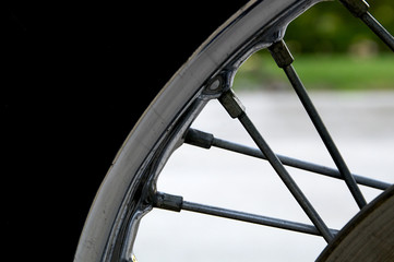 motorcycle spokes, rim and tire
