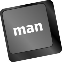 man words on computer pc keyboard keys
