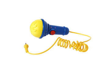Plastic toy microphone.