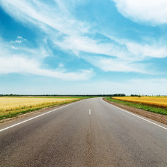 asphalt road to horizon between golden fields under blue sky wit