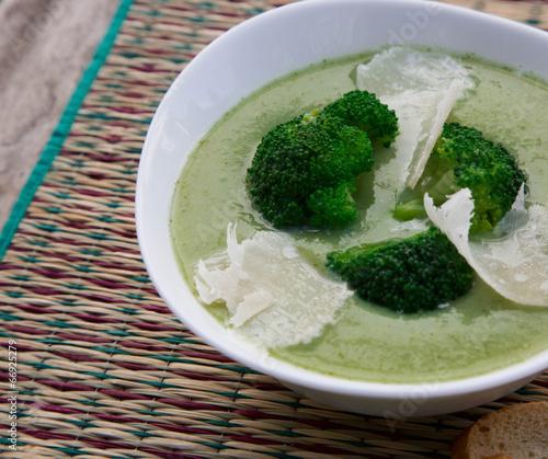 Broccoli cream soup with parmesan