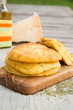 Salty cottage cheese pancakes with dried rosemary